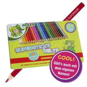 Supersticks Delta, 24 Farben, Buntstift mit Namen